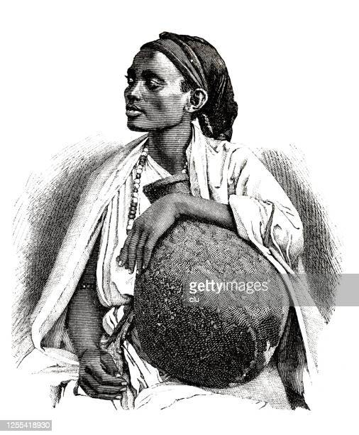 somali woman portrait, sitting, holding a vase, looking to the side - horn of africa stock illustrations