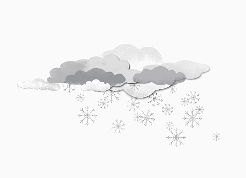 Some clouds and snow flakes against white background - gettyimageskorea