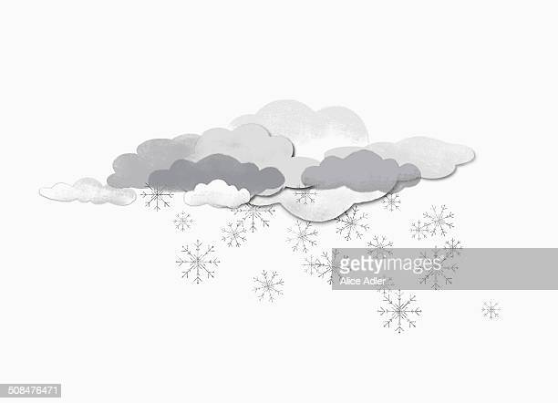 Some clouds and snow flakes against white background