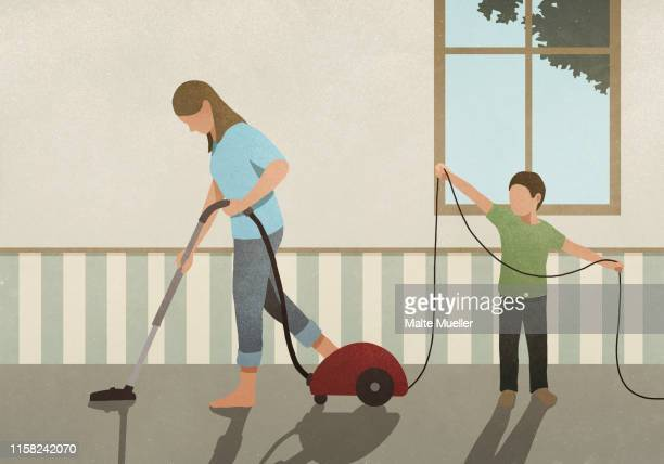 son helping mother vacuum carpet - family stock illustrations