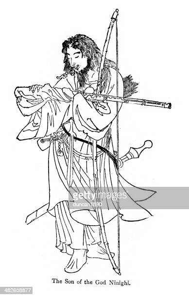 son of the god ninigi - only japanese stock illustrations, clip art, cartoons, & icons