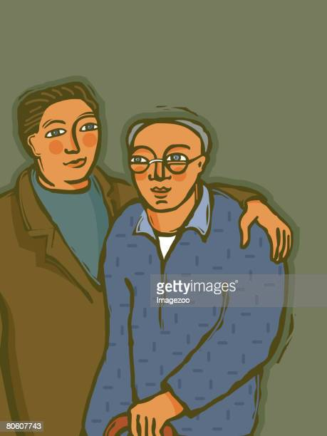 a son with elderly father - arm in arm stock illustrations, clip art, cartoons, & icons