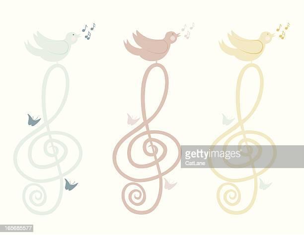 songbird on treble clef - treble clef stock illustrations, clip art, cartoons, & icons
