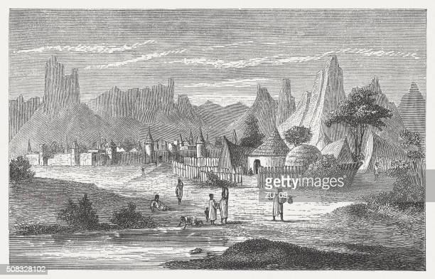 ソンガイ族の村、マリ hombori 近く、木製の彫り込み、1882 年に発表された - 内陸部の岩柱点のイラスト素材/クリップアート素材/マンガ素材/アイコン素材