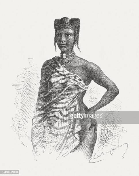 a soninke girl from west africa, wood engraving, published 1868 - senegal stock illustrations, clip art, cartoons, & icons