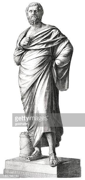 sophocles, classical greek writer and philosopher - philosopher stock illustrations