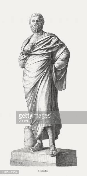 sophocles (497/96 bc-406/05 bc), greek dramatist, wood engraving, published 1884 - greek statue stock illustrations
