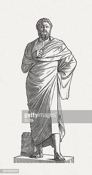 sophocles (497/496 bc-406/405 bc), greek poet, wood engraving, published 1881 - sophocles stock illustrations