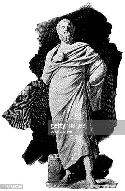 sophocles statue - 4th century bc - sophocles stock illustrations