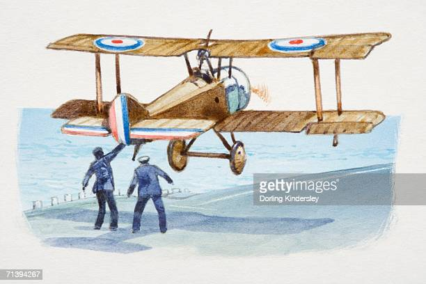 sopwith pup plane taking off by seafront, rear view. - ww1 aircraft stock illustrations