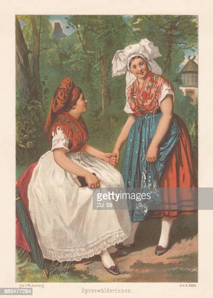sorb women, slavic ethnicity in germany, lithograph, published 1886 - spreewald stock illustrations