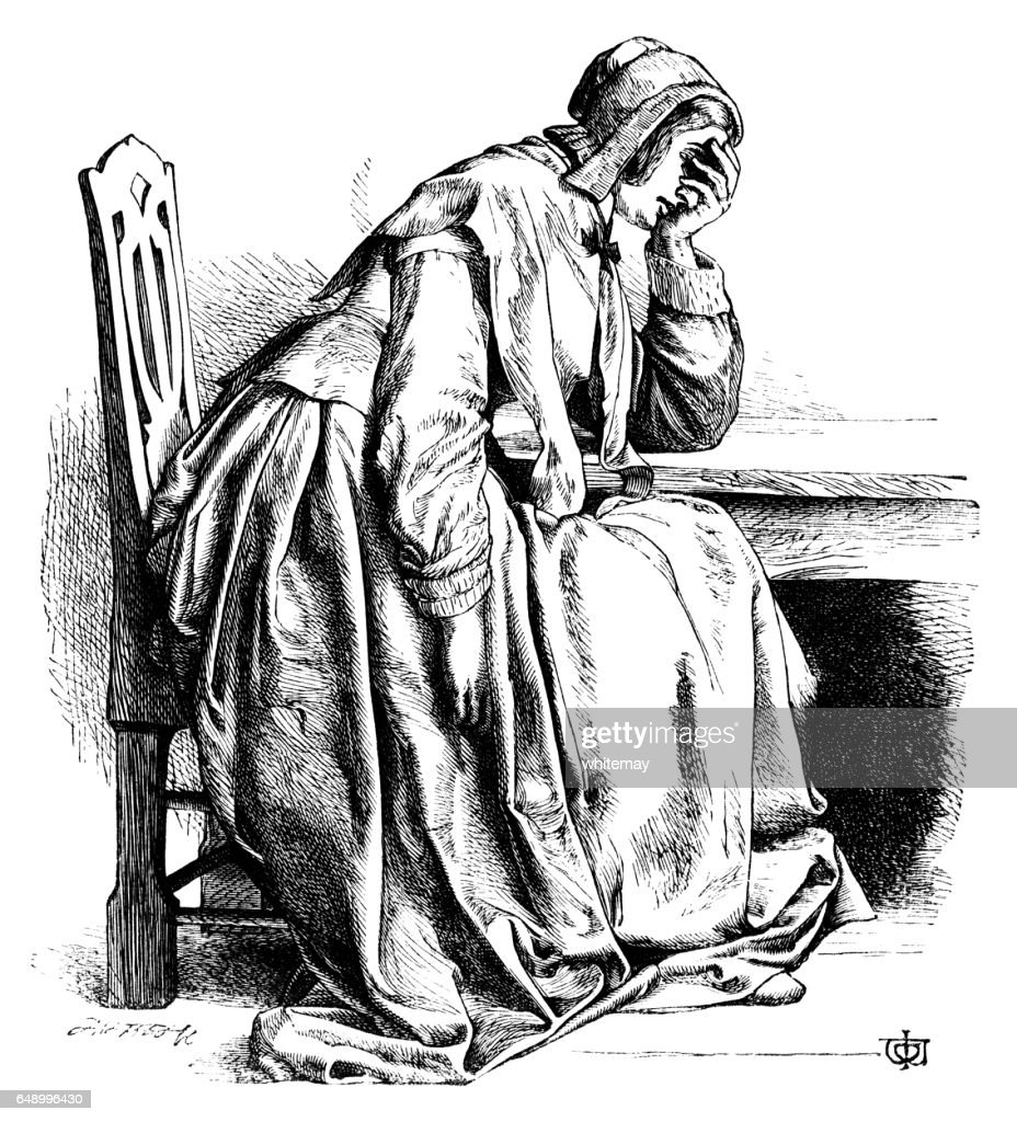Sorrowful woman sitting at a table : stock illustration