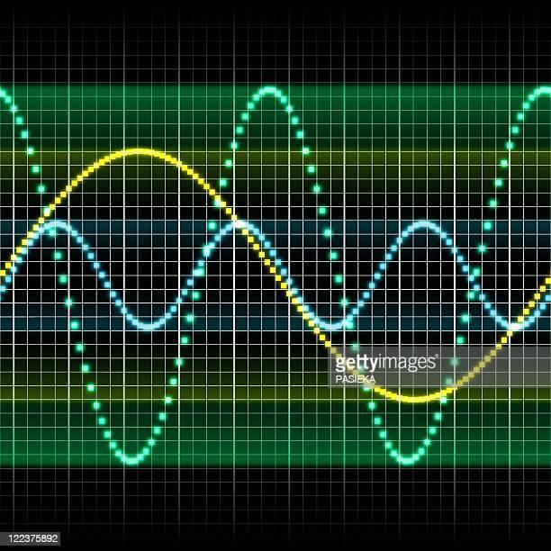 illustrazioni stock, clip art, cartoni animati e icone di tendenza di sound wave, computer artwork - onda sonora