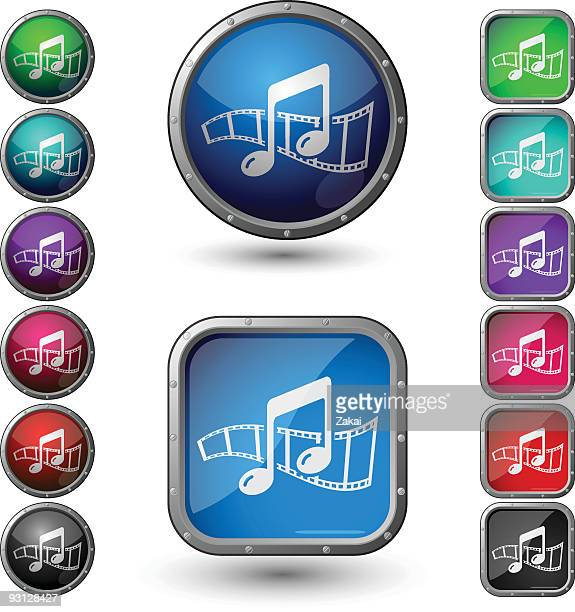 soundtrack - glossy buttons with steel frame. - colors soundtrack stock illustrations