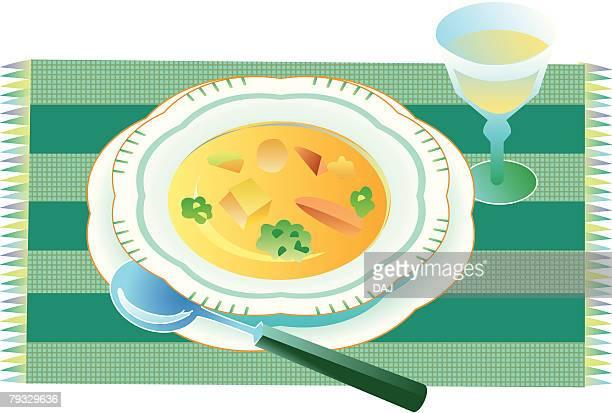 Soup, close-up, illustration