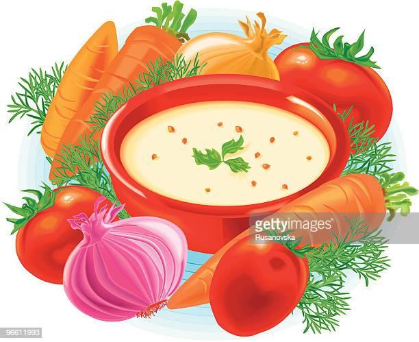soup - soup bowl stock illustrations