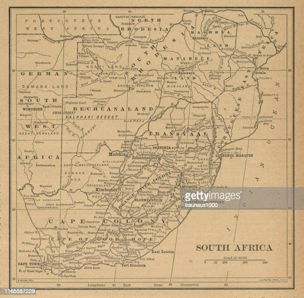 South Africa Antique Victorian Engraved Colored Map, 1899