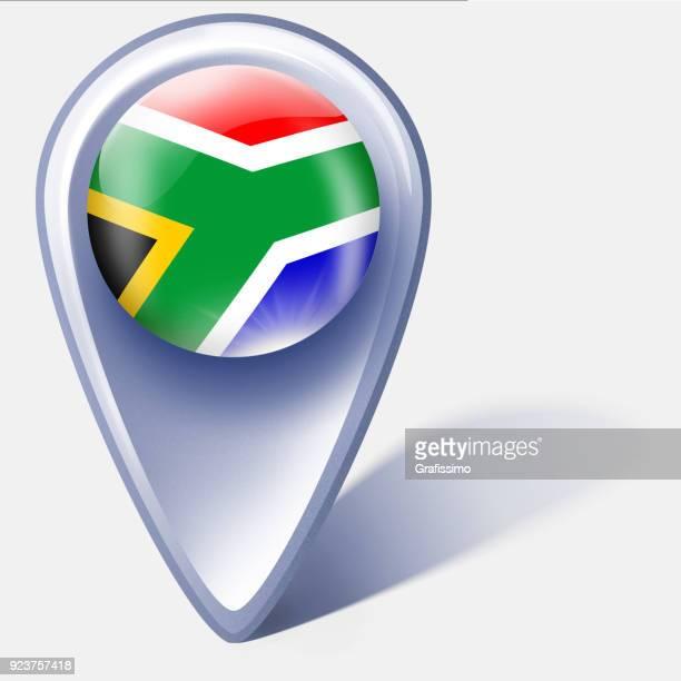 ilustrações, clipart, desenhos animados e ícones de ponteiro de mapa de botão de áfrica do sul com bandeira isolado no branco - bandeira sul africana