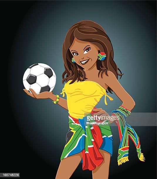South Africa Flag Female Soccer Fan