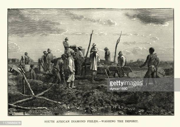 South African diamond mine, miners washing the deposit, 19th Century