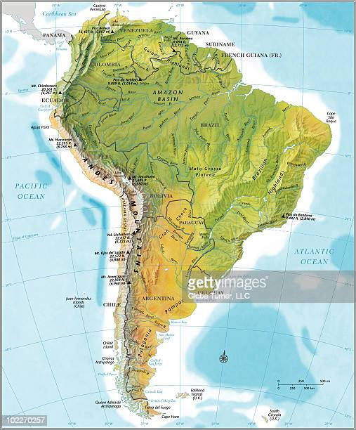 South America continent map, relief