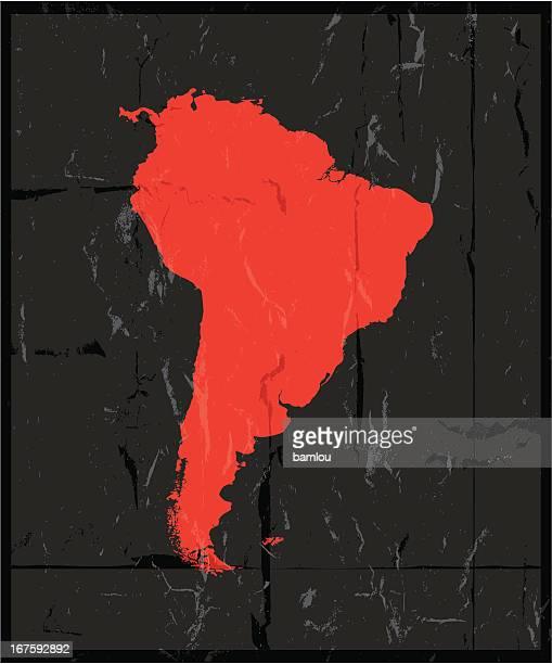 südamerika detaillierte karte grunge-stil - nordamerika stock-grafiken, -clipart, -cartoons und -symbole