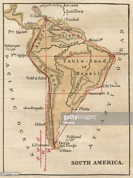 South America Map Illustration, Travel, Exploration, Antique 1871 Illustration