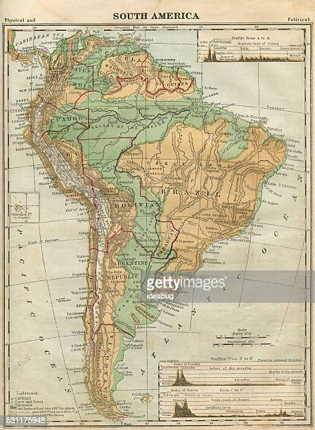 South America Map Illustration, Travel, Exploration, Antique 1871 Illustration