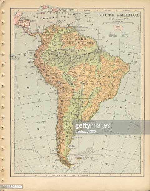 south america physical map antique victorian engraved colored map, 1899 - panama city stock illustrations, clip art, cartoons, & icons