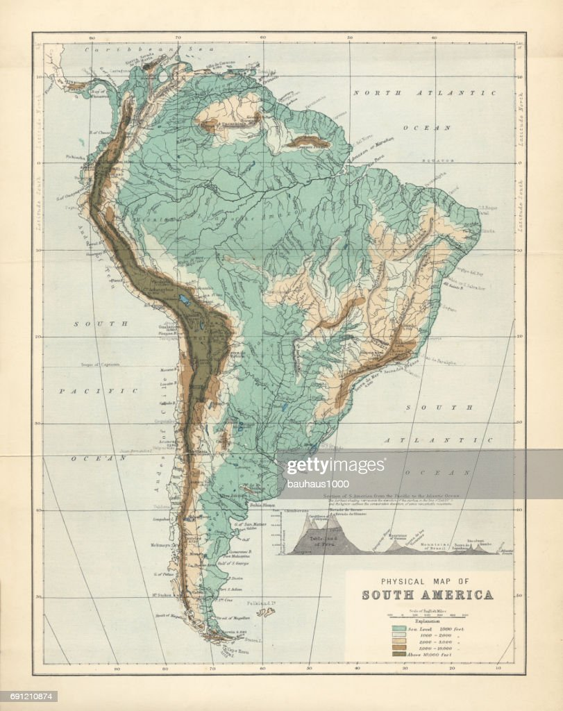 South America Physical Map Engraving 1892 Stock Illustration | Getty ...