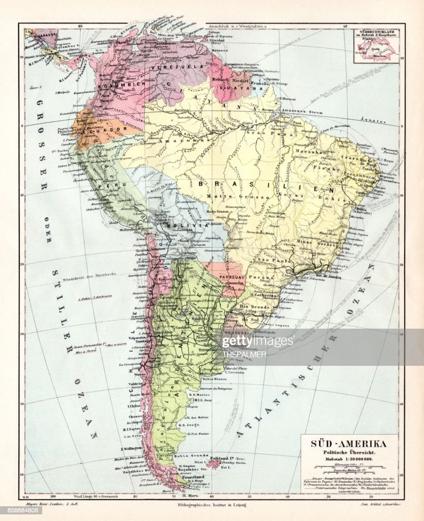 South America political map 1895 : Stock Illustration