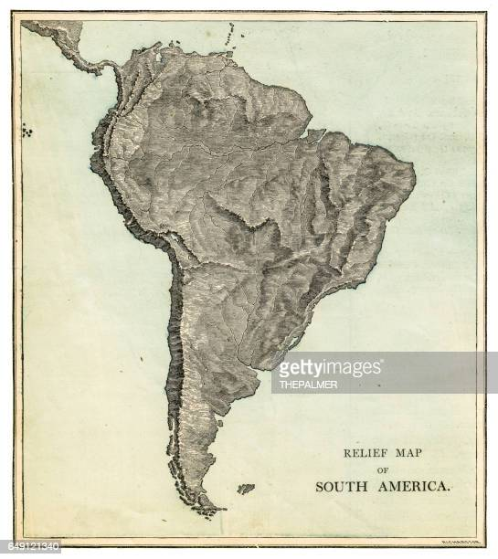 south america relief map 1875 - relief carving stock illustrations