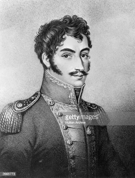 South American revolutionary leader Simon Bolivar , known as 'The Liberator'. Original Artwork: Engraving by W Hall.