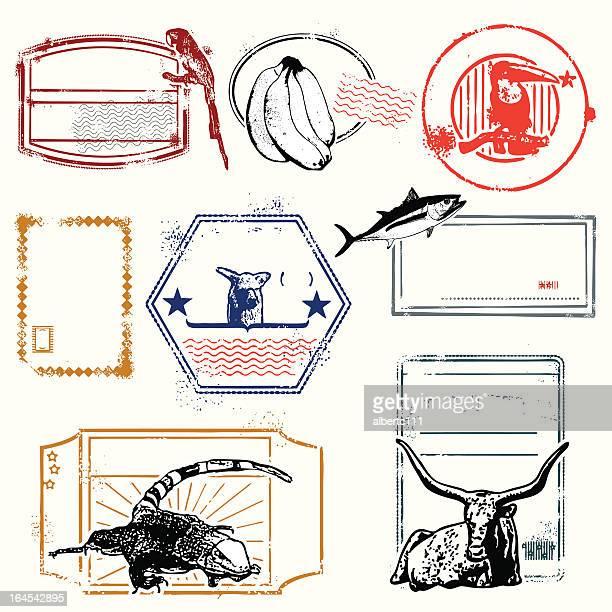 ilustraciones, imágenes clip art, dibujos animados e iconos de stock de south american sellos de viajes - iguana