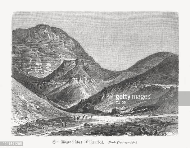 A South Arabian desert valley, wood engraving, published in 1897