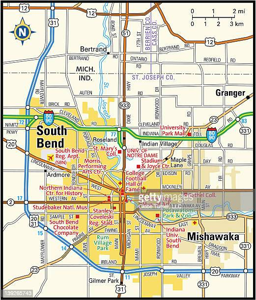 south bend, indiana area - south bend indiana stock illustrations