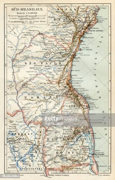 south brazil map 1895 - parana state stock illustrations