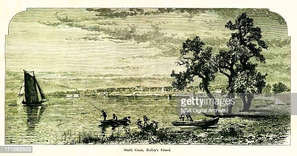 south coast, kelleys island, ohio   historic american illustrations - village stock illustrations