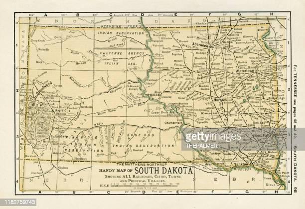 south dakota map 1898 - south dakota stock illustrations