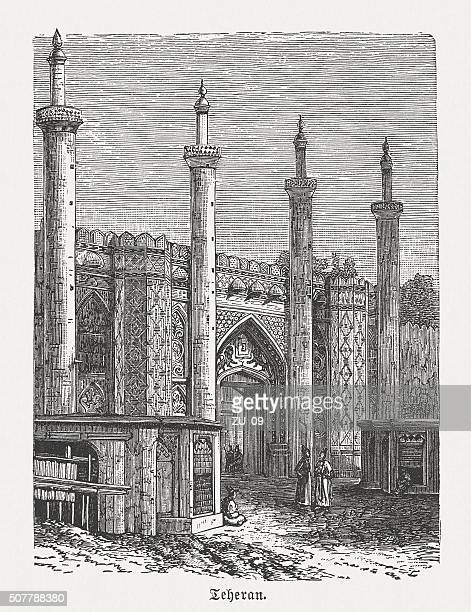 south gate of tehran, wood engraving, published in 1882 - málaga province stock illustrations, clip art, cartoons, & icons