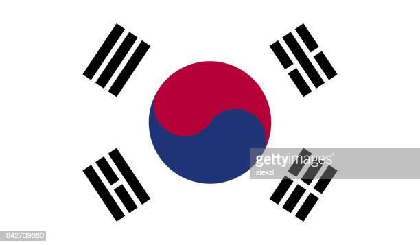 south korea flag - south korea stock illustrations, clip art, cartoons, & icons