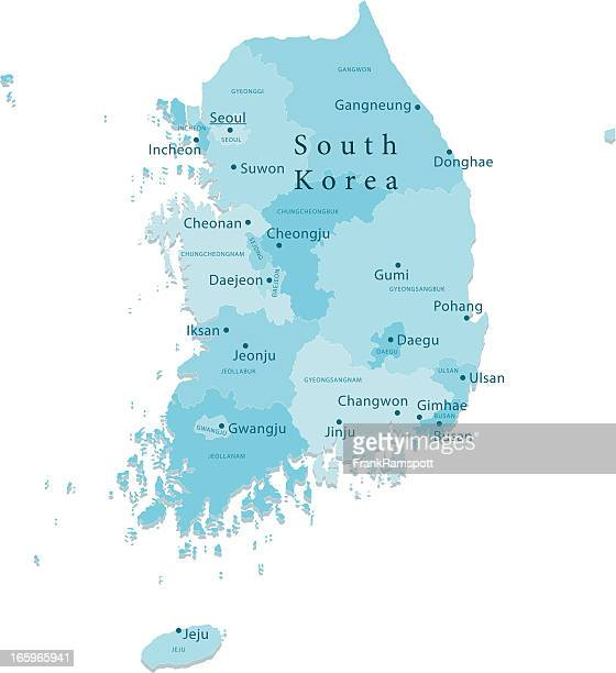 south korea vector map regions isolated - daegu stock illustrations