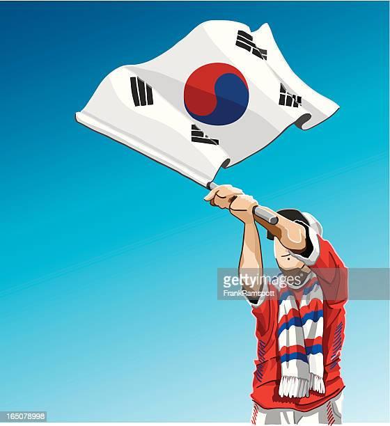ilustraciones, imágenes clip art, dibujos animados e iconos de stock de bandera de corea del sur, agitando de fútbol - cultura coreana