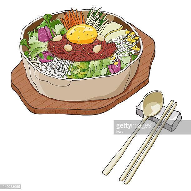 south korean food - chopsticks stock illustrations, clip art, cartoons, & icons