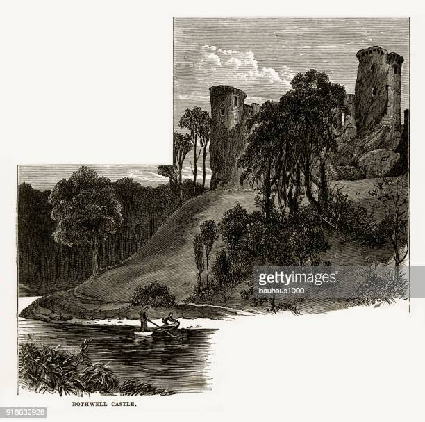 south lanarkshire , scotland, bothwell castle, scottish victorian engraving, circa 1840 - clyde river stock illustrations, clip art, cartoons, & icons