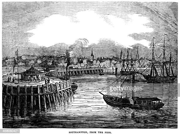 Southampton from the pier (Victorian engraving)