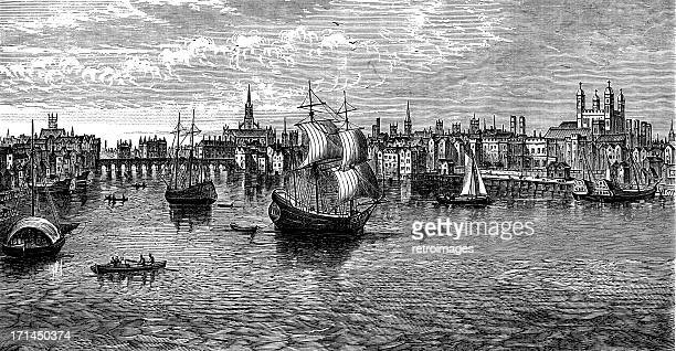 South-East view of London, 1559, tower, St Paul's (engraved illustration)