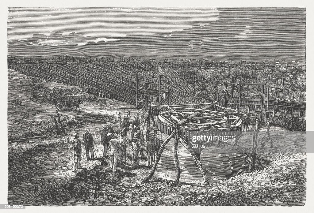 Southern African diamond mine, wood engraving, published in 1882 : stock illustration