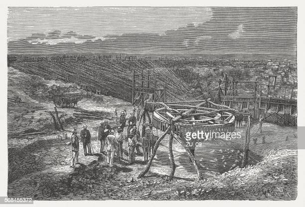 Southern African diamond mine, wood engraving, published in 1882