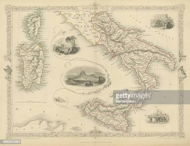 southern italy fine engraving - mt vesuvius stock illustrations, clip art, cartoons, & icons
